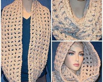 Crochet Infinity Scarf, Chunky Infinity Scarf, Infinity Scarf, Oatmeal Infinity Scarf, Tweed Infinity Scarf, Crochet, Plush Infinity Scarf