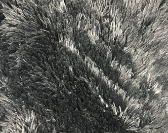 Charcoal Pile with Tassel Faux Fur Fabric by the Yard Style - 5050