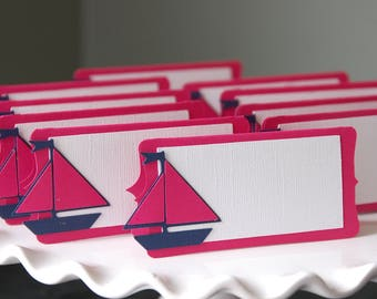 Sailboat Place Card, Sailboat Food Labels, Sailboat Party Supplies, Nautical, 12 Pcs, You Select the Colors, Hot Pink