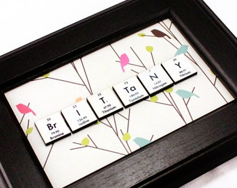 Chemistry Science Gift//Personalized Periodic Table of Elements Name-Sign//Science Decor//Geeky//Pretty Birds