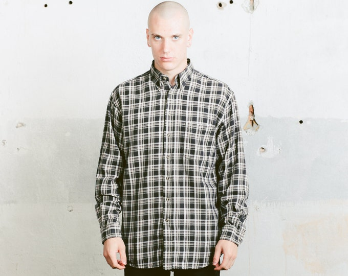 Vintage 90s Plaid Shirt . Mens Grunge Shirt Long Sleeve Lumberjack Everyday Shirt Mens 90s Fashion Comfortable Shirt Menswear . size Large L