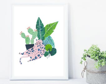 Lazy Cat Potted Jungle Print, Cat Lover Gift Indoor Plant Print, Monstera Leaf print, Cactus Print, Botanical Illustration, crazy cat lady