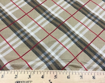 Beige/White/Black/Red Plaid Print Quilting Cotton Fabric  [[by the half yard]]