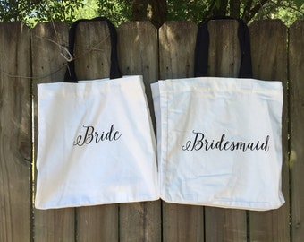 Bride Bridesmaid Canvas Market Tote Bag - Monogrammed Tote Bag - Personalized Tote Bag - Hostess Gift - Bridesmaid Gift - Birthday Gift
