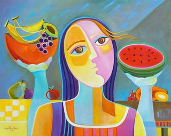 Cubism Abstract Artwork Giclee Print Marlina Vera Fine Art Gallery Cubist Picasso style Woman portrait Modern Pop fruits seller