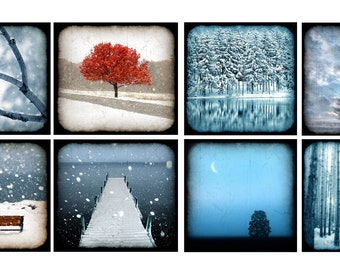 30% Off, Set of 16, Note Cards, Winter, snow, bird, autumn, red, mint, teal, tree, ocean, cottage decor, ttv look,  blank inside