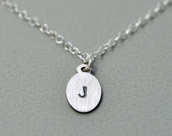 Petite Custom Initial Necklace. Sterling Silver. Oxidized Detail. Tiny. Small. Delicate. Fine. Personalized Jewelry.