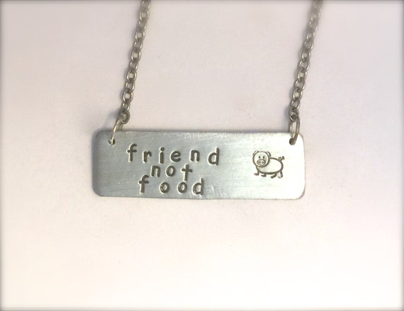 Friend not Food Pig necklace-Rectangle-Vegan Necklace-Gift-Birthday-Anniversary-Personalized-Eco Friendly