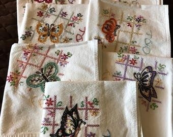 Hand Embroidered Butterfly Kitchen Towel Set! 7 days of the week Flour Sack Cotton Towels!