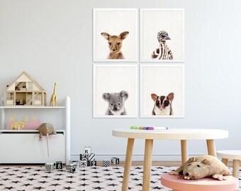 Australian Animals Nursery Decor, Animals Print Set of 4, Baby Koala Kangaroo Emu, Australian Animals Print, Printable Kids Room Wall Decor