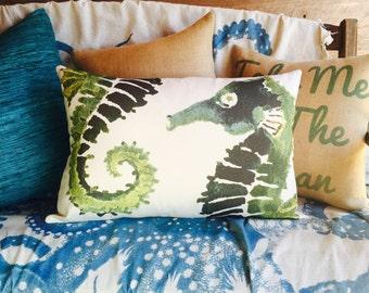Green Seahorse Pillow, Nautical Lumbar Pillow, Watercolor, TheWatsonShop