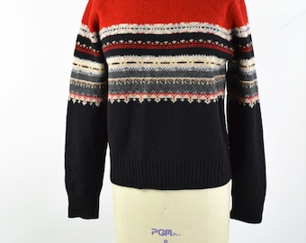 Red and Black Ski Sweater 1980s Lambs Wool Ski Sweater Size Medium Stripe Knit Pullover Sweater Great Colors Thick and Warm