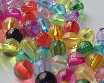 6 mm Transparent Acrylic Round Beads of Assorted Colours. (.mt)