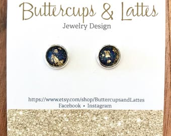 Deep Purple with Gold Leaf Shimmer Stud Earrings 8mm
