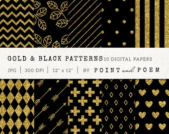 Gold Digital Paper, Gold Glitter Patterns, Background, Scrapbooking, Chevron, Stripes - Commercial Use