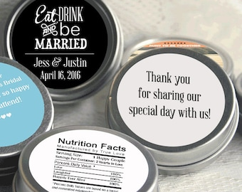26 Personalized Mint Favor, Eat Drink and Be Married Wedding Favor, Personalized Favor, Mint Tin Favors, Candy Favors - Set of 26