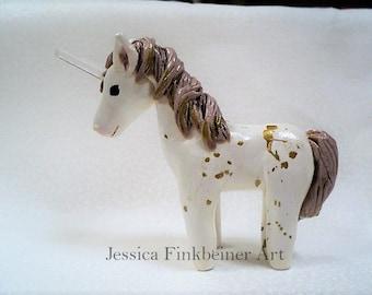 Gold Splatter Unicorn with real quartz point horn