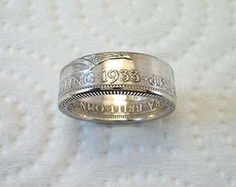 Size 4 1/2. Coin Ring. 1932 Great Britain Silver Shilling. READY TO SHIP.