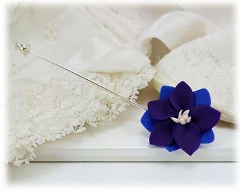 Purple Larkspur Brooch or Stick Pin - Larkspur Flower Jewelry, July Birthday Birth Flower