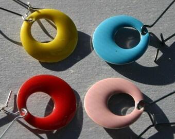 Enamel Loop Earrings SALE Choose Two Colors GoGo Hoop Rainbow Simple Sterling Silver Elongated Drop Customize Your Own Pick Festive Colorful