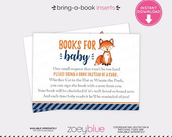 Fox Book Inserts - Boy Baby Shower - Little Fox Bring a Book Instead of a Card Baby Sprinkle Printable Invitation Insert-  Baby's Library