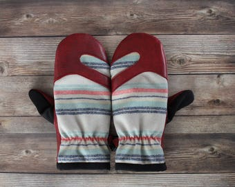 Wool and Leather Mitten | Trail Mitt | striped Pendleton wool and red deerskin leather