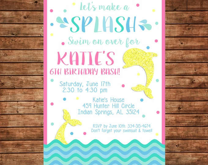 Girl Invitation Dolphin Glitter Pool Ocean Beach Birthday Party - Can personalize colors /wording - Printable File or Printed Cards