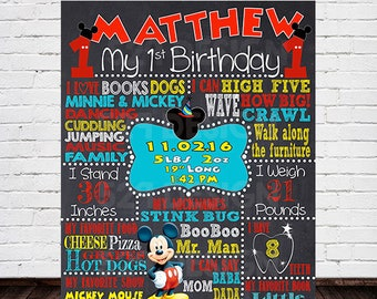 Mickey Mouse Birthday Chalkboard Sign