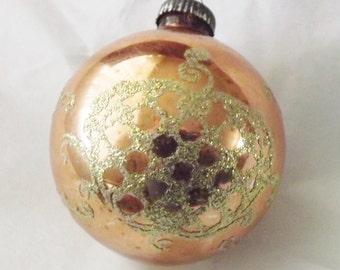 Vintage peach gold ornament glass ornament Christmas ornament ball ornament stencil ornament glitter ornament shield West Gemany ornament