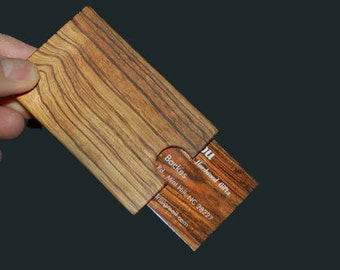 Zebra wood card case- business accessory - stylish - exotic wood