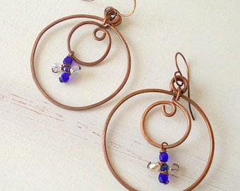 Burnished copper jewelry, hoop earrings with cobalt blue pendant, gift for her