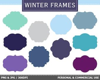 10 Digital Winter Frames Labels Clip Art Winter, Frost, Snow, Blue Frames Clip Art