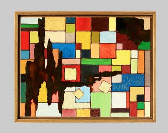 Squares, colorful, oil painting
