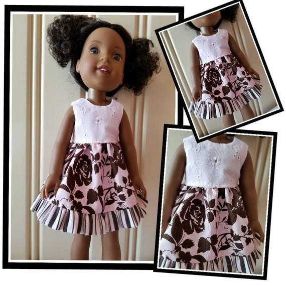 Pink and Brown Flowered Wisher Dress 14.5 Inch Doll