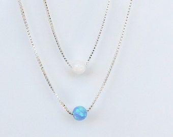 Opal Bead Necklace • Sterling Silver Chain • Blue or White Ball • Waterproof • 8 Chain Lengths • Best Price Opal Bead Necklace on Etsy