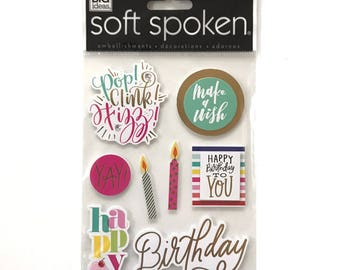 SALE MAMBI Soft Spoken Make a Wish Birthday Embellishment Stickers | Scrapbooking Stickers