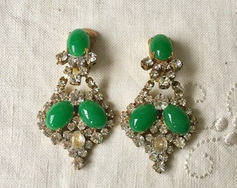 Clear And Green vintage czech glass clip earrings