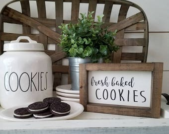 Fresh Baked Cookies. Rae Dunn inspire . Cookie Bar sign. Kitchen decor. Rustic sign. Rustic framed sign.