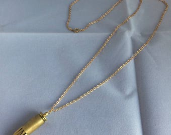 Three Gold Stone Bullet Shell Necklace