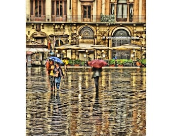 """Fine Art Digital Print of Rainy Day in Florence Italy - """"Umbrellas in the Piazza"""""""