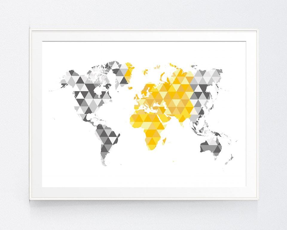 Yellow Gray World Map Print Mustard and Grey World Map Wall