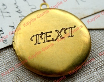 Engraved Locket Necklace with Your Own Word Engraving Chain Length 24 inches