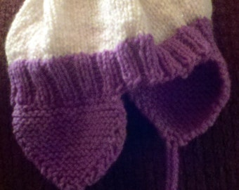 Knitted flap hat - sizes baby through adult