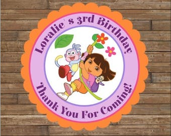 Personalized Dora the Explorer Stickers - Dora Favor Tags - Dora the Explorer Birthday - Dora Party
