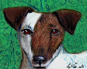 original art aceo drawing dog Smooth Fox terrier Terrier Group