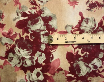 Green Red Tan Floral Pattern Linen Fabric Per Yard