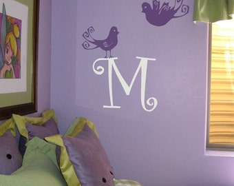 Swirly Bird Letter Initial Wall Decal