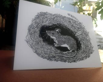 Illustrated Greetings Card - 'The Wood Mouse'