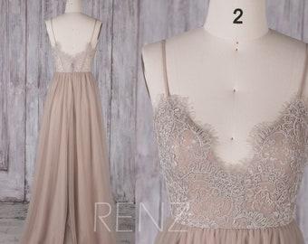 Bridesmaid Dress Pale Khaki Tulle Dress,Wedding Dress,Illusion Lace Back Party Dress,Spaghetti Strap Maxi Dress,A-Line Prom Dress(HS548B)