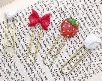 Red and White Planner Clips , Strawberry Paper Clip, Red Bow Bookmark, Red and White Planner Accessory, Set if Four Planner Clips, White Owl